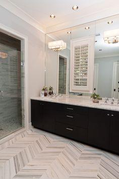 Herringbone floor & Walk-in shower
