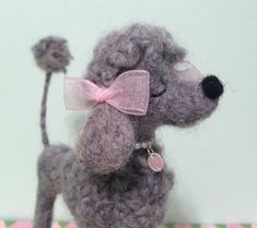RESERVED FOR BW Gray Felted Snooty Poodle by MelaniesMenagerie, $43.00