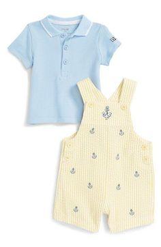 Little Me 'Anchor' Polo & Stripe Short Overalls Set (Baby Boys)