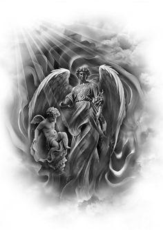 Znalezione obrazy dla zapytania desenhos de anjos para tatuagem
