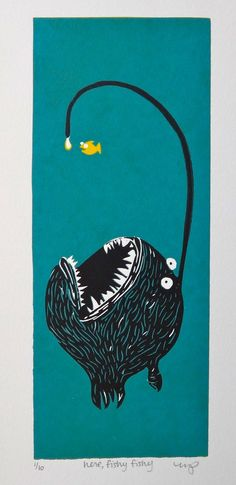 Angler fish print show really well how the angler fish catches prey.
