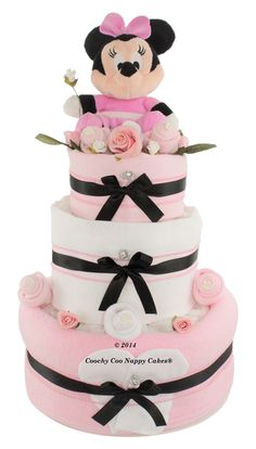 Deluxe three tier Disney Minnie Mouse nappy cake baby shower gift www.CoochyCooNappyCakes.co.uk