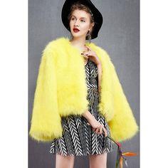 Yoins Yoins Artificial Fox Fur Coat ($48) ❤ liked on Polyvore featuring outerwear, coats, coats & jackets, yellow, long sleeve coat, faux fox fur coat, fox fur coat, yellow coat ve faux coat