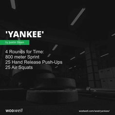 """""""Yankee"""" WOD - 4 Rounds for Time: 800 meter Sprint; 25 Hand Release Push-Ups; Amrap Workout, Rowing Workout, Insanity Workout, Mommy Workout, Abs Workout Routines, Track Workout, Fitness Workout For Women, Crossfit Workouts At Home, Lifting Workouts"""