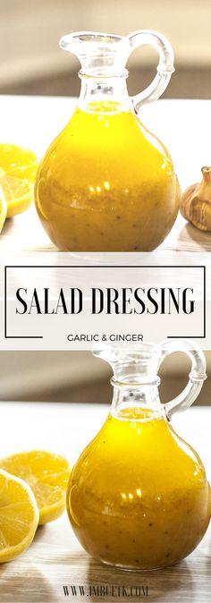 Garlic, Ginger & Almond Nut Salad Dressing. Gluten Free, Dairy Free.