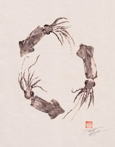 repro of a Squid Wreath (surume ika) GYOTAKU print - traditional Japanese fish art - by dowaito on etsy