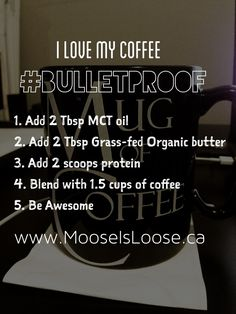 Bullet Proof Coffee with protein powder. Can use coconut oil instead of MCT. Probably worth getting proper grass-fed butter. Can add cocoa for a mocha coffee or cold shake