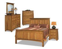 Luxury Amish Rustic Panel Boulder Creek Bedroom Set Solid Wood Full Queen King #NewHickoryWholesale #ArtsCraftsMissionStyle