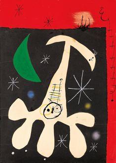 PERSONNAGE ET OISEAU DANS LA NUIT II - Joan Miró, 1965 - gouache, watercolor, pen & ink, pastel, and collage