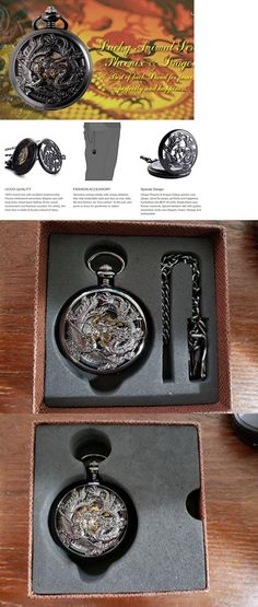 1818e6742 Other Pocket Watches 398: Manchda Antique Mechanical Pocket Watch Lucky  Dragon And Phoenix Retro Skeleton