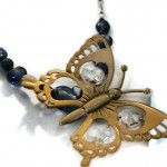 Monet Butterfly Spring Necklace