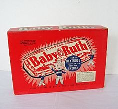 Vintage 1950 Baby Ruth 5 Cent Candy Bar Colorful Store Advertising Cardboard Box