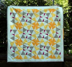 """zitronenfalter"" from Ulrike Kittel's flickr - lieblingsdecke. A solids and triangles quilt to feed both our current quilty obsessions, al."