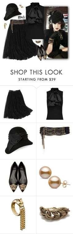 """""""Mission Monochrome: All-Black Outfit"""" by ysmn-pan ❤ liked on Polyvore featuring WithChic, Sirius, Kathy Jeanne, Lanvin, Versace, J.Crew, contest and allblackoutfit"""