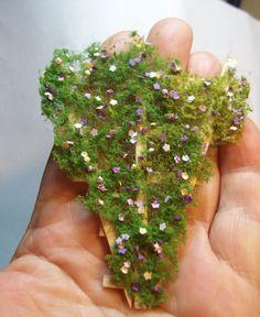 miniature trellis purple flowers by fortislandminiatures on Etsy, $12.00