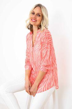 Romana Shirt in Coral Blush Coral Blush, Oxford Blue, Gray Hair, Cuff Sleeves, Blue Denim, Shirt Style, Long Sleeve Shirts, Bell Sleeve Top, Tunic Tops