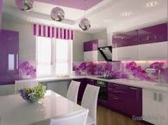 secrets about purple kitchen cabinets 2019 and purple kitchen accessories. We will also tell you about the trends purple kitchen ideas and its combination such as purple and white kitchen decor. Purple Kitchen Walls, Purple Kitchen Designs, Kitchen Wall Design, Kitchen Colors, Purple Walls, Kitchen Paint, Grey Walls, Purple Home, Deep Purple