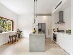 White, wood and concrete kitchen, Blandford Avenue, Bronte, NSW 2024