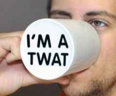 """Have some fun at the office by getting your unsuspecting coworkers to drink out of the """"I'm A Twat"""" mug. Once your victim begins drinking from their plain white ceramic mug, the hidden message on the bottom lets everyone around know that they're a twat."""