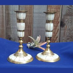 Beautiful vintage candlestick holders made of brass and mother of pearl inlay tall Candles, Decor, Candle Holders, Brass, Vintage Candlestick Holders, Boho Decor, Vintage Boho Decor, Candlesticks, Vintage