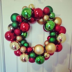 DIY Ornament Wreath- so easy.-made with a wire hanger!