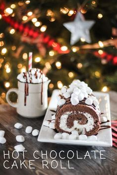 This decadent hot chocolate cake roll puts all the classic flavors of hot cocoa into one delicious cake roll. A moist, rich chocolate cake covers a creamy marshmallow filling. A drizzle of chocolate syrup and mini marshmallows complete this hot cocoa cake roll, making it the perfect dessert to serve this holiday season. #hotchocolate #dessert #winter #dessertrecipe Chocolate Roll Cake, Cocoa Cake, Chocolate Syrup, Chocolate Heaven, Best Hot Chocolate Recipes, Homemade Chocolate, Cake Roll Recipes, Dessert Recipes, Flavored Whipped Cream