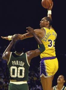 Kareem launching his trademark skyhook. You can't block that.