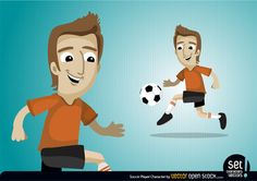 Enthusiastic Soccer Player running and carrying the Football. Smiling expression and jumping posture.