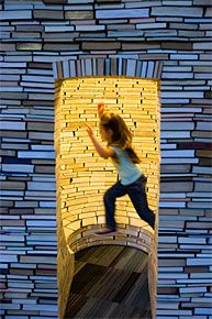 An interactive book castle at the New Children's Museum in San Diego, CA