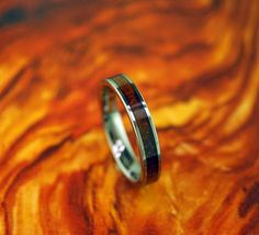 Flat Tungsten Ring with Koa Wood Inlay by WeddingBandWorld Let's Get Married, Wedding Ring Bands, Rings For Men, Ceramics, Engagement Rings, Unique Jewelry, Wood, Handmade Gifts, Flat