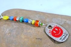 Wild Thing Colorful Charm Key Ring Glass Beads  by CKDesignsUS