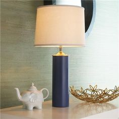 Modern Cylinder Ceramic Table Lamp - perfect dimensions for the shelf behind the sectional $139.00 (other colors available too!)