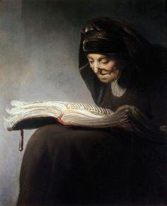 Rembrandt's Mother Reading (c. 1629). Rembrandt Harmenszoon van Rijn (Dutch painter and engraver, 1606-1669).   Wilton House, Wiltshire, England.