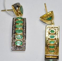 VICTORIAN ESTATE 7.70 CT ROSE CUT DIAMOND EMERALD EARRING FREE SHIPPING at $299.99