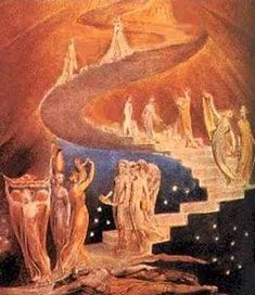 Posterazzi Jacobs Ladder William Blake British Museum London Canvas Art - William Blake x Esoteric, William Blake, Artist, Painting, Oil Painting, Masonic Symbols, Canvas Giclee, Canvas Art, London Canvas Art