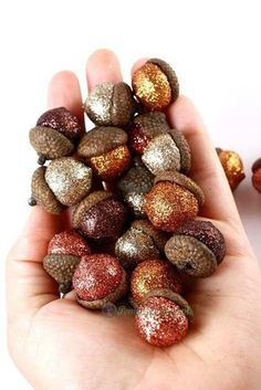 DIY Glittery Acorns