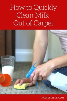 Learn how to clean and remove new and old milk stains from your carpet, and tips on how to get rid of the sour milk smell. #homeviable #carpetcleaning #vinegar #bakingsoda #DIY Cleaning Diy, Kitchen Cleaning, House Cleaning Tips, Diy Cleaning Products, Cleaning Solutions, Deep Cleaning, Pet Hair Removal, Diy Carpet Cleaner, How To Clean Carpet