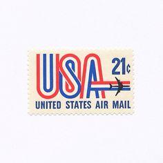United States Airmail (21¢). United States, 1971. Design: John Larrecq. #mnh…