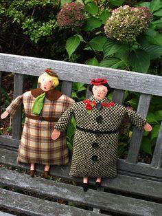 Flat lady cloth dolls by Mimi Kirchner.  Would make interesting pin cushion or scissor keep too.