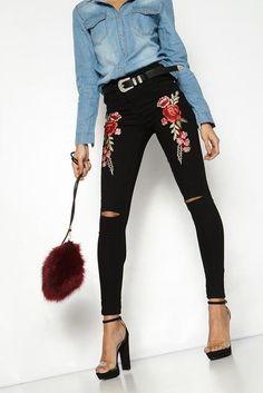 Rose Embroidery Light Denim Jeans