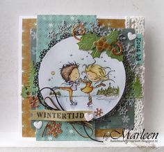 Handmade card by DT member Marleen with Collectables Tab with Text - NL Craftables Tiny's Pine Trees Basic - Round Punch Die Snowflakes Christmas Bells and Ice Crystals Arche from Marianne Design Christmas Bells, Christmas Cards, Marianne Design Cards, Envelope Box, Ice Dance, Winter Cards, Winter Theme, Diy Cards, Cardmaking