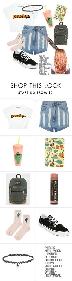 """""""peach🍑"""" by boqueefqueef ❤ liked on Polyvore featuring Sandro, Sunnylife, JanSport, Topshop, Vans, BERRICLE and ADZif"""