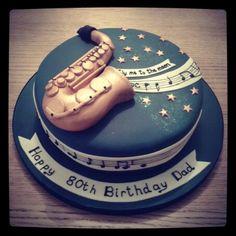 Saxophone 80th birthday cake by Gingerbread Lane