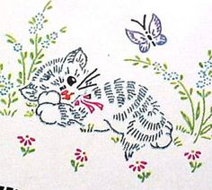 1940s Kitty Pillowcase Motifs Uncut Vogart Hot Iron Transfer