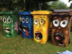 Street art of in rubbish bins