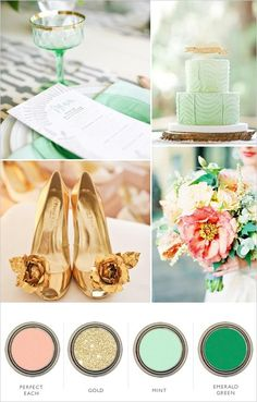 Peach, Mint, Emerald and Gold Color Palette