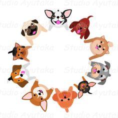 sitting small dogs looking up circle – Studio Ayutaka Store