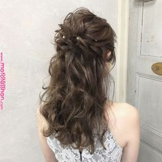 33 Oh So Perfect Curly Wedding Hairstyles 106 Korean Wedding Hair, Curly Wedding Hair, Simple Wedding Hairstyles, Bridal Hair, Permed Hairstyles, Bride Hairstyles, Pretty Hairstyles, Hair Color 2018, Hair Arrange