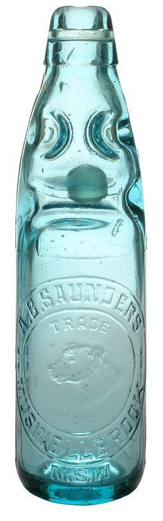 Pale Blue-aqua Saunders Muswellbrook Marble Bottle (Codd Bottle). Dog's Head trade mark. c1910s