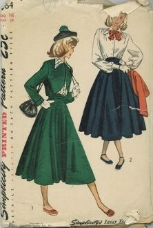 An original ca. 1948 Simplicity Pattern 2364.  Teen-age Bolero suit and Blouse:  The dart-fitted bolero is styled with long, cuffed sleeves and lining is optional.  The circular skirt features folds in the front waistband which gives the effect of a cummerbund.  A forward shoulder seam releases soft gathers on the front-buttoning blouse.  The collar is pointed and the bishop sleeves join to a wide wristband.